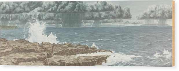 Landscape Wood Print featuring the painting The Storm by Michael Marcotte