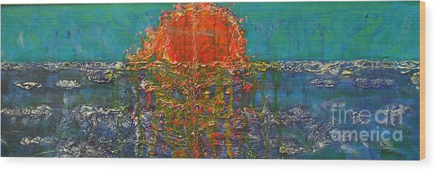 Non Objective. Abstract Wood Print featuring the painting Weather Or Not by M J Venrick