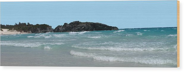 Surf Wood Print featuring the photograph Bermuda South Shore Beach by Ian MacDonald