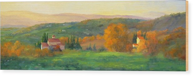 Chianti Wood Print featuring the painting Chianti Glow by Bunny Oliver