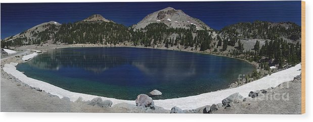 Mirror Wood Print featuring the photograph Lake Helen Lassen by Peter Piatt