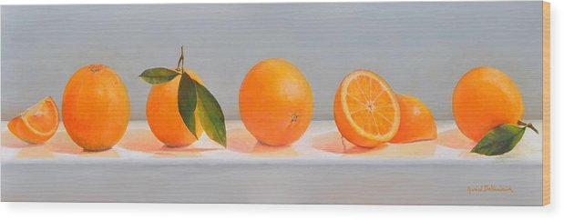 Floral Painting Wood Print featuring the painting Ligne D Oranges 2 by Muriel Dolemieux