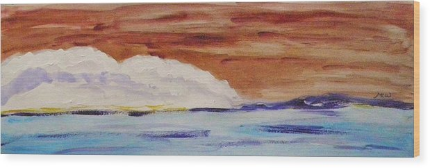 Acrylic Wood Print featuring the painting Red Brown Sky by Mary Carol Williams