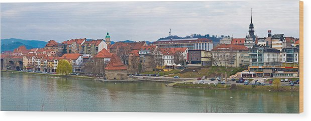 Riverfront Wood Print featuring the photograph Town Of Maribor Riverfront Panoramic by Brch Photography