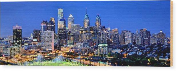 Philadelphia Skyline Wood Print featuring the photograph Philadelphia Skyline At Night Evening Panorama by Jon Holiday