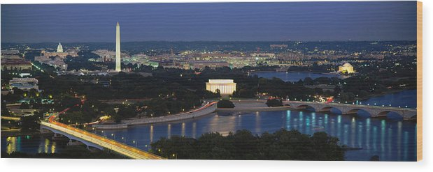Photography Wood Print featuring the photograph High Angle View Of A City, Washington by Panoramic Images