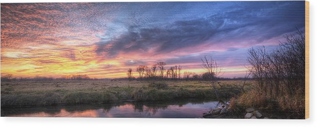 Sunset Wood Print featuring the photograph Mitchell Park Sunset Panorama by Scott Norris