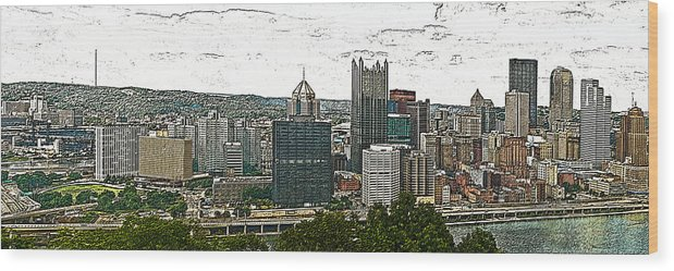 Citiscapes Wood Print featuring the photograph Pittsburgh Panorama Artistic Brush by G L Sarti