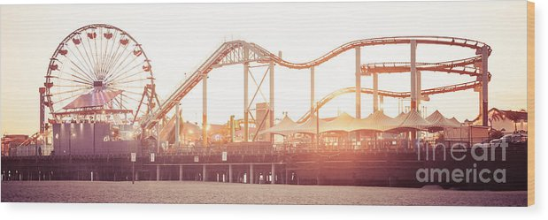 America Wood Print featuring the photograph Santa Monica Pier Roller Coaster Panorama Photo by Paul Velgos