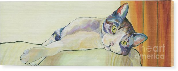 Pat Saunders-white Canvas Prints Wood Print featuring the painting The Sunbather by Pat Saunders-White