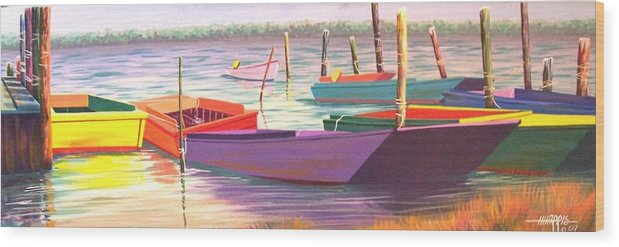 Boats Wood Print featuring the painting Bateau Mystique by Hugh Harris