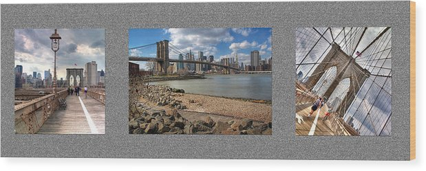 Brooklyn Wood Print featuring the photograph Brooklyn Bridge...triptych by Arkadiy Bogatyryov