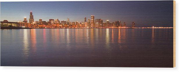Chicago Wood Print featuring the photograph Chicago Dusk Skyline Panoramic by Sven Brogren