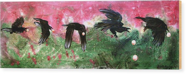 Raven Wood Print featuring the painting Linking Fancy Unto Fancy by Sandy Applegate