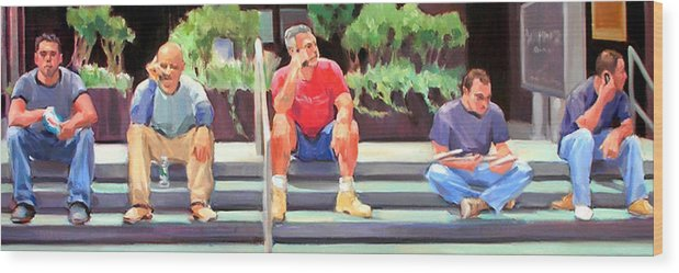 Figurative Wood Print featuring the painting Lunch Break - Men At Work Series by Merle Keller