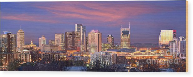 Nashville Wood Print featuring the photograph Nashville Skyline At Dusk 2018 Panorama Color by Jon Holiday