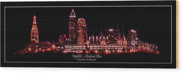 Cleveland Wood Print featuring the photograph Nightlife by Kenneth Krolikowski
