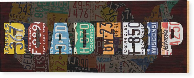 Road Trip Usa Map Recycled Vintage License Plate Lettering Phrase