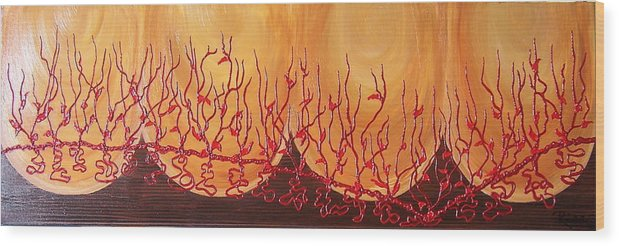 Abstract Wood Print featuring the painting Spiritual Growth by Hendrica Regez