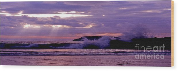 Stormy Wood Print featuring the photograph Stormy Ocean Panoramic by Sven Brogren