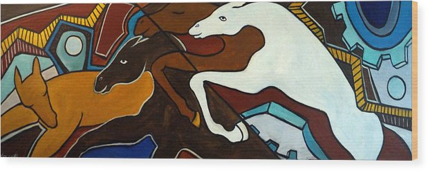 Horse Abstract Wood Print featuring the painting Taffy Horses by Valerie Vescovi