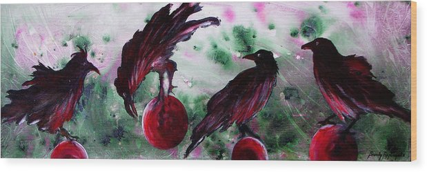 Raven Wood Print featuring the painting The Raven Still Beguiling by Sandy Applegate