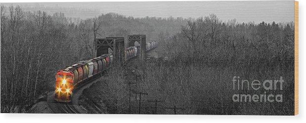 Alberta Wood Print featuring the photograph Westbound Grain by Brad Allen Fine Art