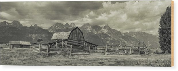 Silver Wood Print featuring the photograph Wyoming Mormon Row Moulton Barn Silver Panorama by James BO Insogna