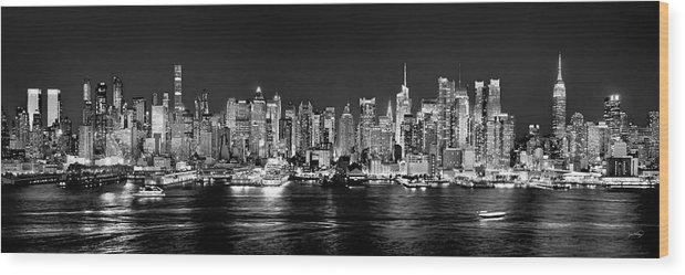 New York City Skyline At Night Wood Print featuring the photograph New York City Nyc Skyline Midtown Manhattan At Night Black And White by Jon Holiday