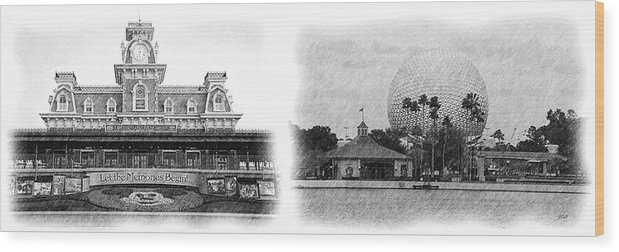 Disney Wood Print featuring the photograph Disney Landmarks by Jenny Hudson