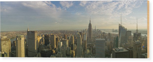 Clouds Wood Print featuring the photograph Nyc Panorama 2 by Rima Biswas