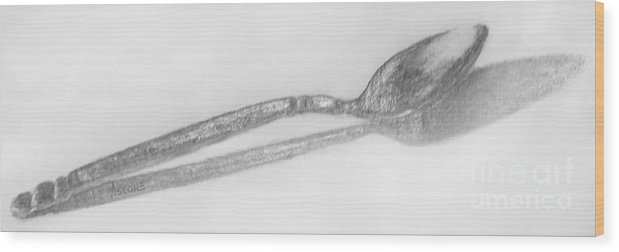 Pencil Wood Print featuring the drawing Spoon Drawing by Teresa Ascone