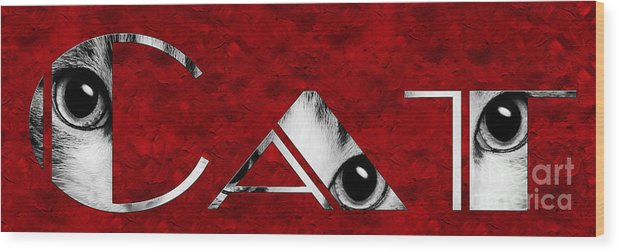 Andee Design Cat Wood Print featuring the photograph The Word Is Cat Bw On Red by Andee Design