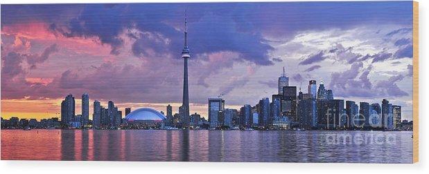 Toronto Wood Print featuring the photograph Toronto Skyline by Elena Elisseeva