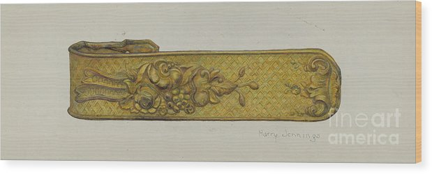 Wood Print featuring the drawing Tie-back by Harry Jennings
