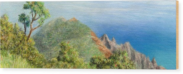 Rainbow Colors Pastel Wood Print featuring the painting Kalalau View by Kenneth Grzesik