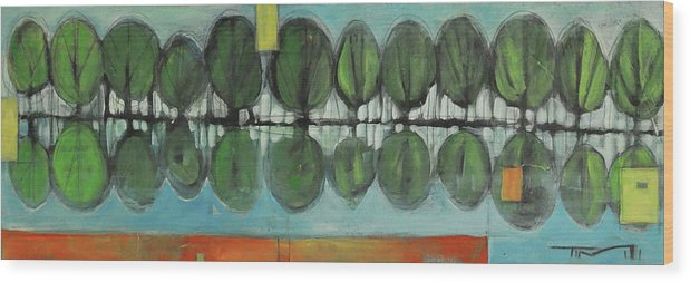 Trees Wood Print featuring the painting Lakeside Trees by Tim Nyberg