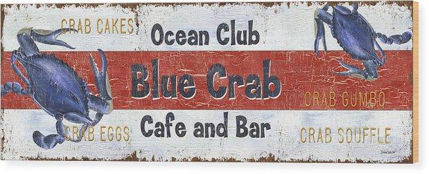 Crab Wood Print featuring the painting Ocean Club Cafe by Debbie DeWitt