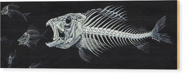 Fish Wood Print featuring the painting Skeletail by JoAnn Wheeler