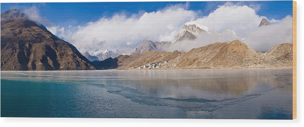 Photography Wood Print featuring the photograph Lake With Mountains In The Background by Panoramic Images