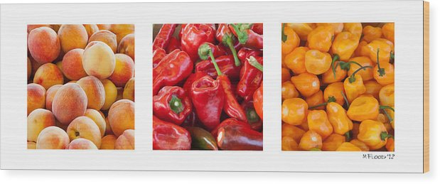 Fuzzy Wood Print featuring the photograph Peaches Peppers Peppers - Landscape by Michael Flood