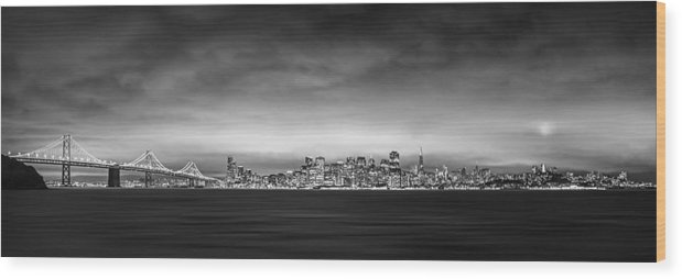 San Fransisco Wood Print featuring the photograph San Fransisco Cityscape Black And White Panorama by Brad Scott