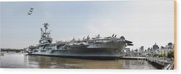 Uss Intrepid Wood Print featuring the photograph Uss Intrepid Sea-air-space Museum In New York City. by Nishanth Gopinathan