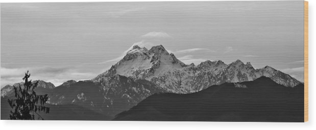 B&w Wood Print featuring the photograph View Of The Brothers by Ronda Broatch