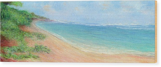 Rainbow Colors Pastel Wood Print featuring the painting Aliomanu Beach by Kenneth Grzesik