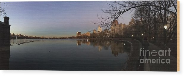 Central Park Wood Print featuring the photograph Central Park Lake by Jose Benegas