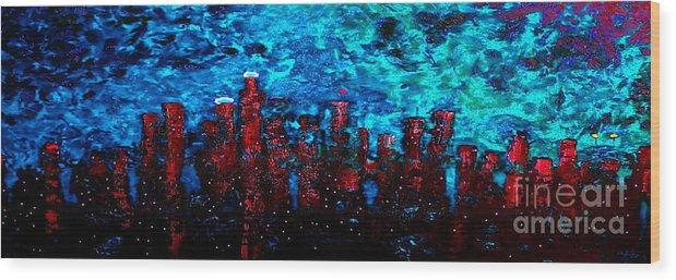 Cityscapes Wood Print featuring the painting Cerulean Angel by Chris Haugen