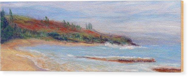 Coastal Decor Wood Print featuring the painting Moloa'a Beach by Kenneth Grzesik