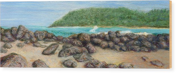 Coastal Decor Wood Print featuring the painting Moloa'a Rocks by Kenneth Grzesik