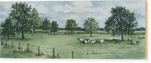 Cows Wood Print featuring the painting Noonday Respite by Anne Rhodes